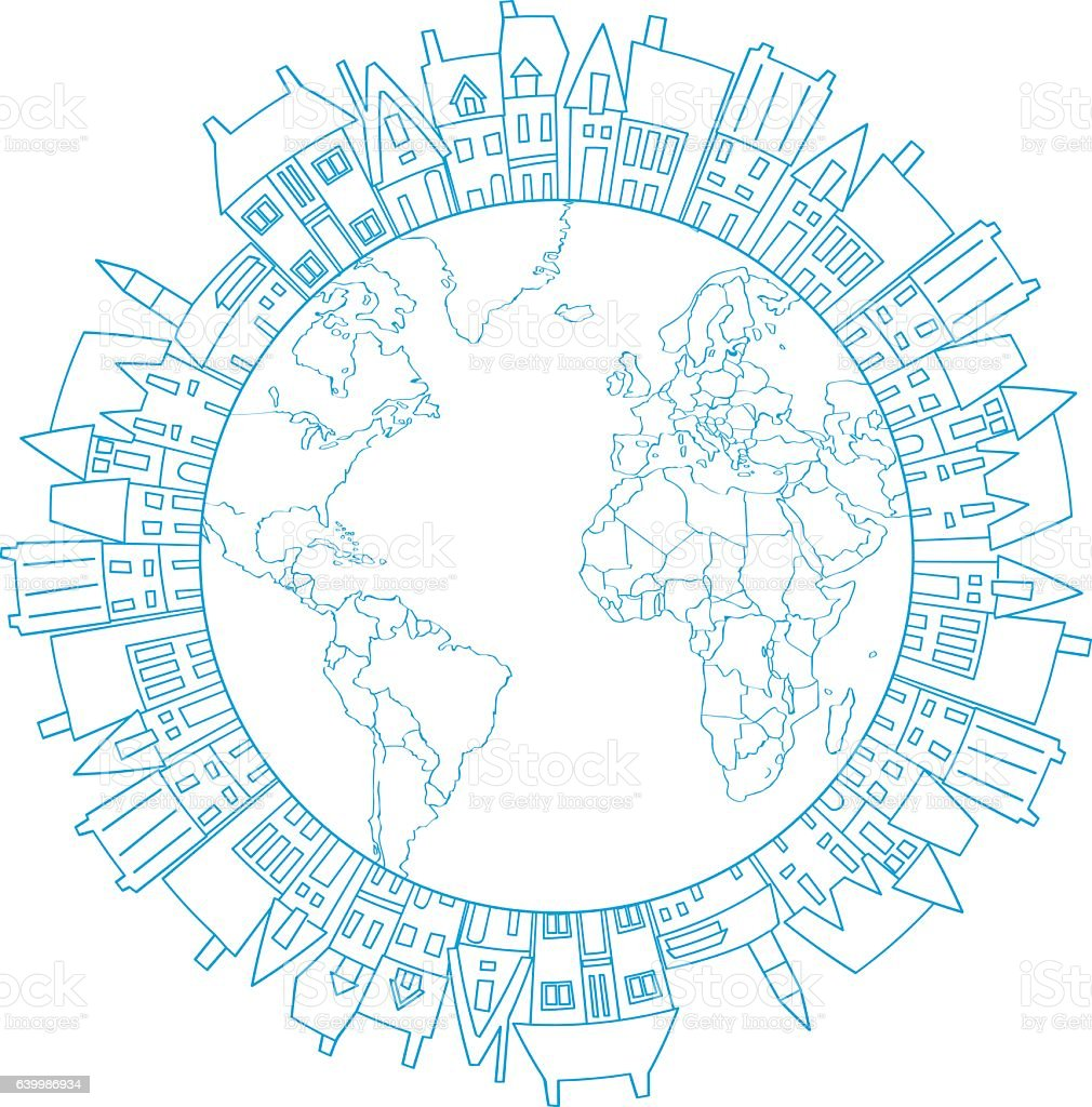 Earth Round Frame With Doodle Village Stock Vector Art & More Images ...