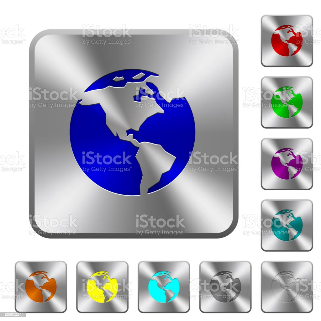 Earth rounded square steel buttons vector art illustration