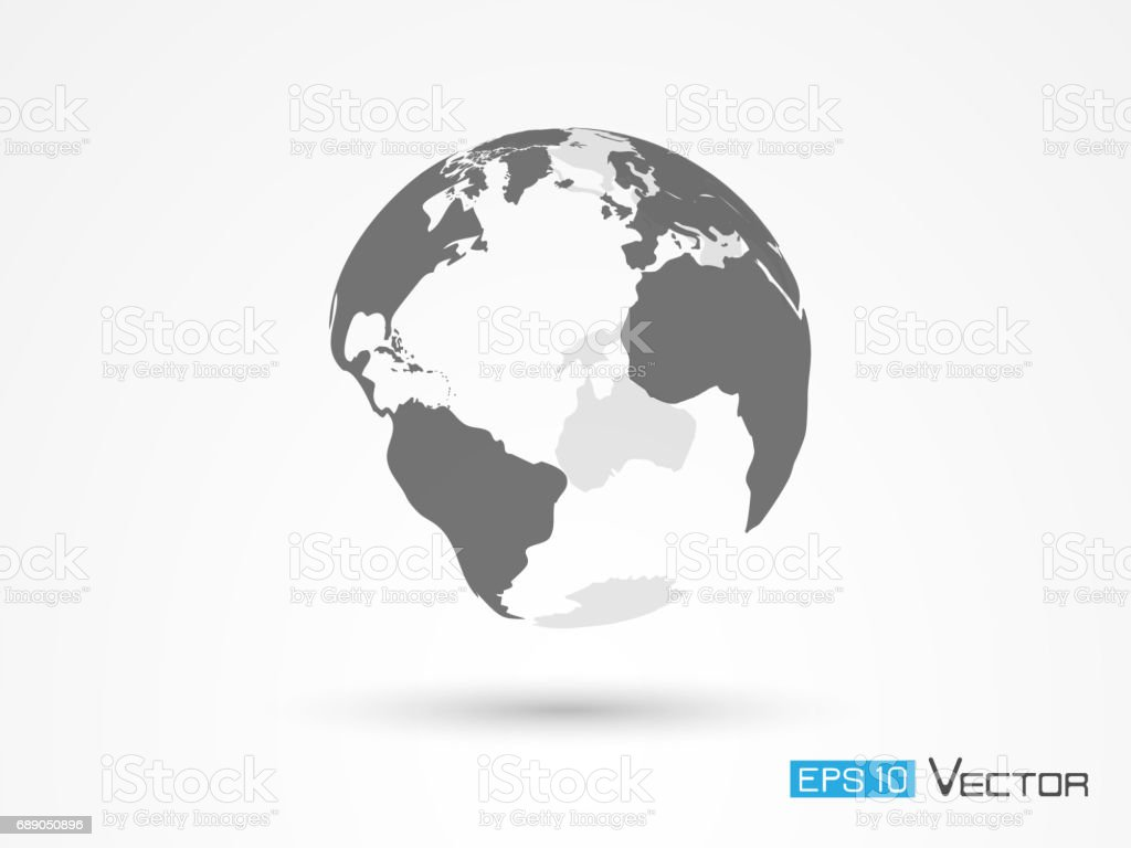Earth silhouette isolated vector art illustration