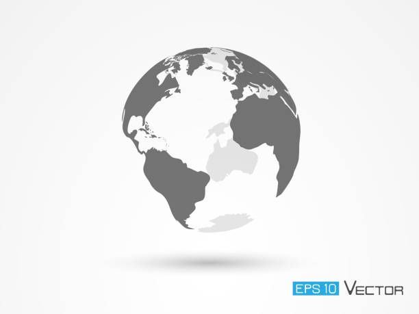 earth silhouette isolated - globes stock illustrations, clip art, cartoons, & icons