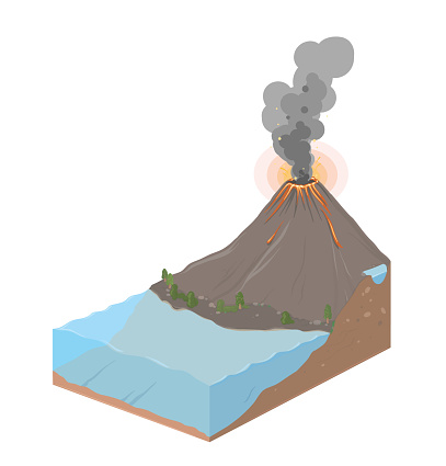 Earth slice with ocean and volcanic eruption. Vector Landscape illustration, isolated on white.