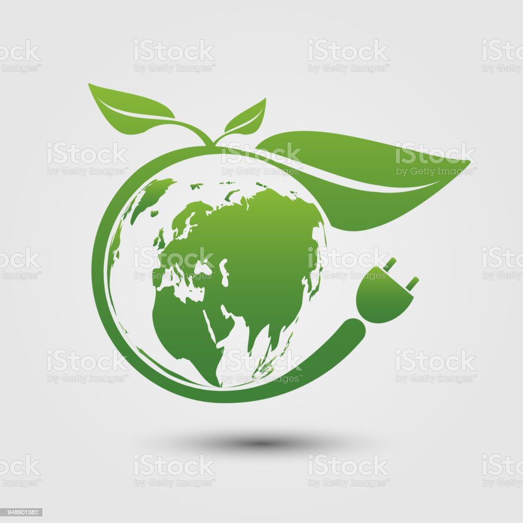 Earth Symbol With Green Leaves Aroundecologygreen Cities Help The