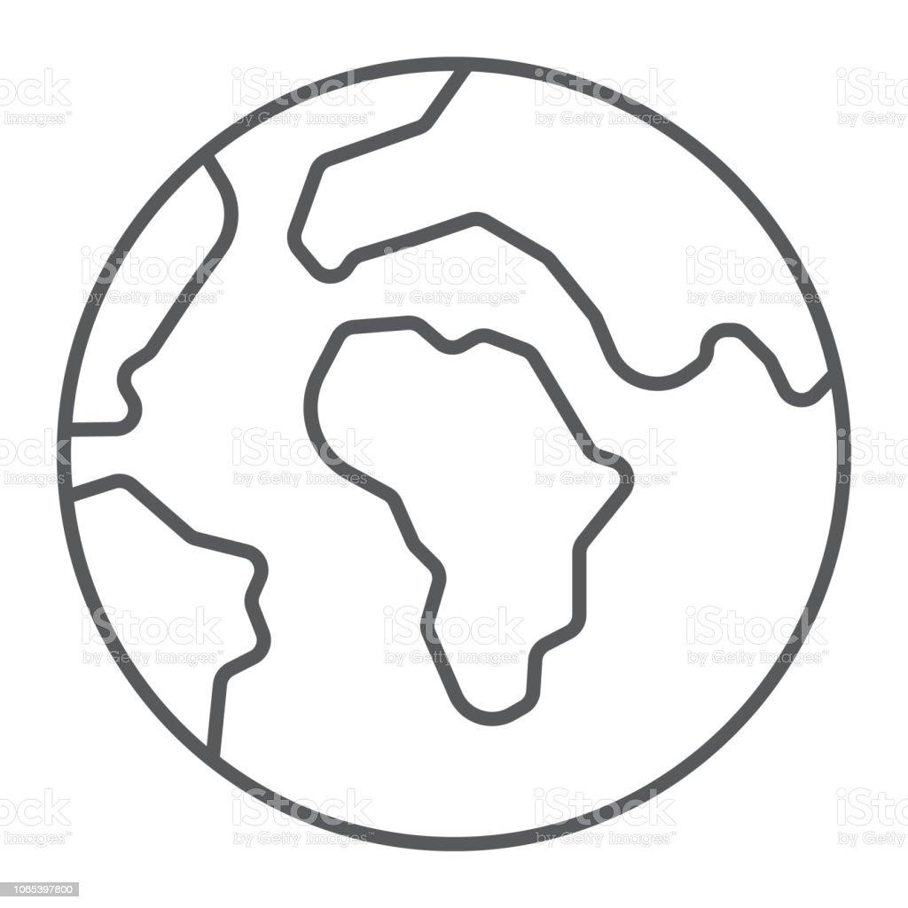 Terre Fine Ligne Icône Du Monde Et Géographie Signe De La Planète Des Graphiques Vectoriels Un Dessin Linéaire Sur Un Fond Blanc Vecteurs Libres De