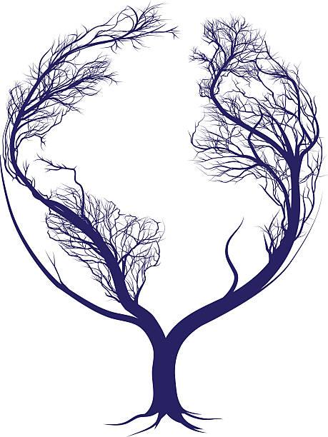 Earth tree vector art illustration