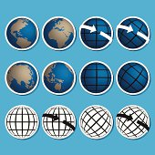 Earth vector icon set.Credit by NASA