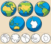 Cartoon illustration of planet Earth viewed from 5 different angles. Below are the same globes uncolored.