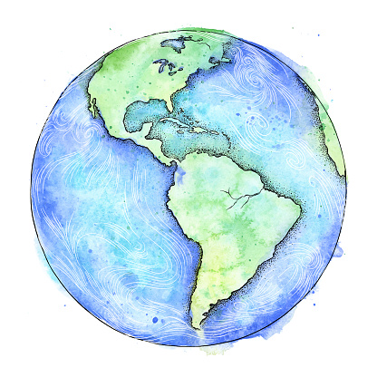 Earth Vector Watercolor and Ink Illustration - Earth Day - Vector EPS10 Illustration