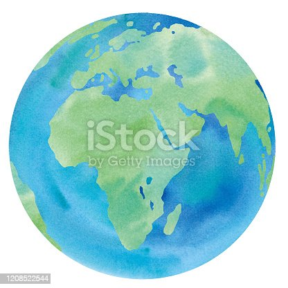 Earth watercolor illustration trace vector (Europe, Africa, Asia, Middle East)