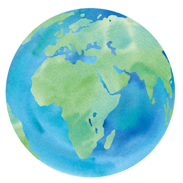 Earth watercolor illustration trace vector (Europe, Africa, Asia, Middle East) Earth watercolor illustration trace vector (Europe, Africa, Asia, Middle East) equator stock illustrations