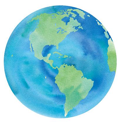 Earth watercolor illustration trace vector (America, Pacific, Atlantic, U.S.A., Canada, Brazil, Peru)