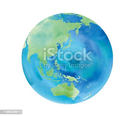 Earth watercolor illustration trace vector-Japan, Asia, Australia, China, Indonesia, Pacific Ocean