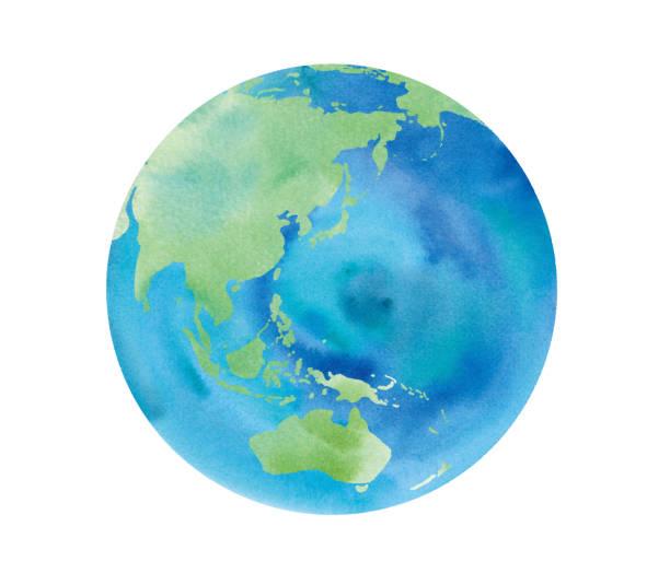 地球水彩画トレースベクタージャパン、アジア、オーストラリア、中国、インドネシア、太平洋 - 地球点のイラスト素材/クリップアート素材/マンガ素材/アイコン素材