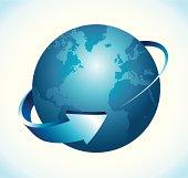 Earth with 3d arrow