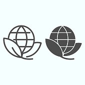 Earth with leaves line and glyph icon. Eco planet vector illustration isolated on white. World map outline style design, designed for web and app. Eps 10