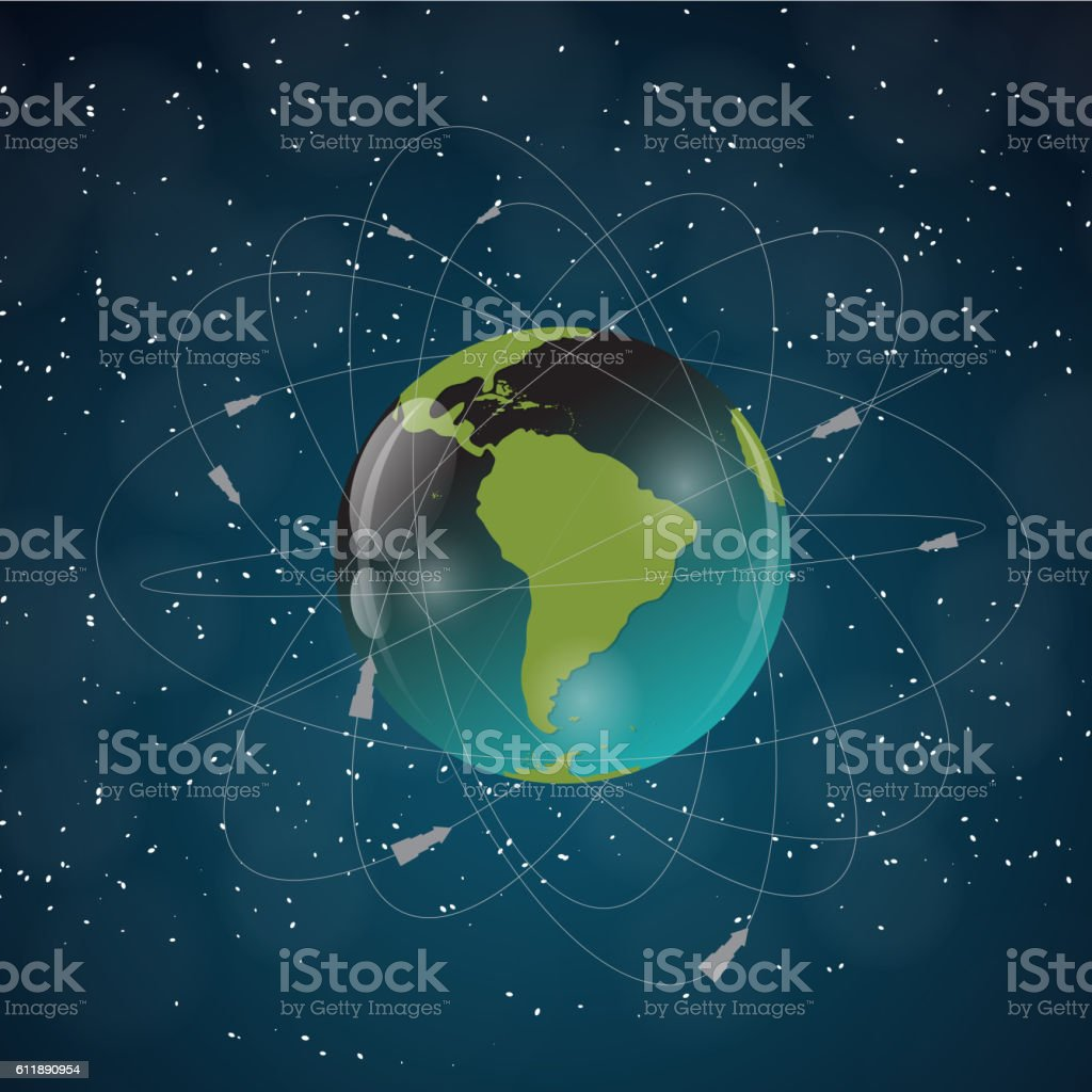 Earth with Satellites. View from Space. Vector Illustration vector art illustration