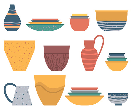 Earthenware crock, Plate and Bowl Set, Dish Vector