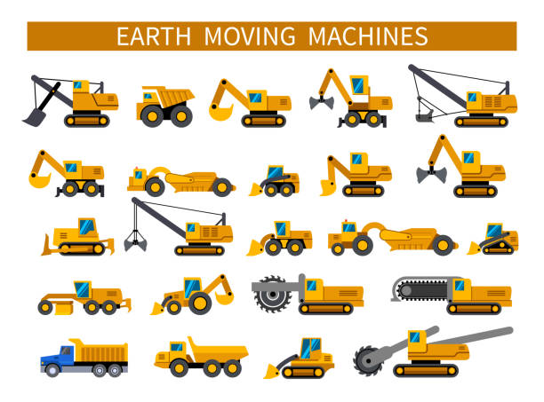 erdbewegungsmaschinen icons set - bagger stock-grafiken, -clipart, -cartoons und -symbole