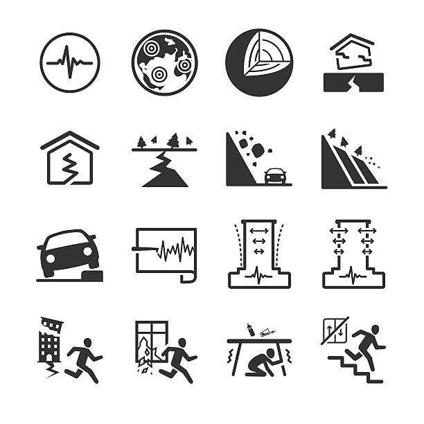 Earthquake and geology icons Earthquake and geology icons. Included survive and warning sign. earthquake stock illustrations