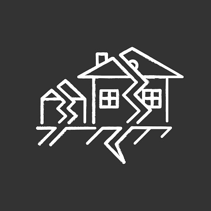 Earthquake chalk icon. Seismic activity. Temblor buildings destruction. Cracked ground, houses. Displacement of earth surface in settlement. Natural disaster. Isolated vector chalkboard illustration