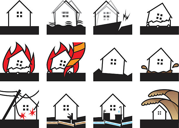 earthquake disaster - electrical wiring home stock illustrations, clip art, cartoons, & icons