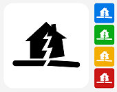 Earthquake Icon. This 100% royalty free vector illustration features the main icon pictured in black inside a white square. The alternative color options in blue, green, yellow and red are on the right of the icon and are arranged in a vertical column.