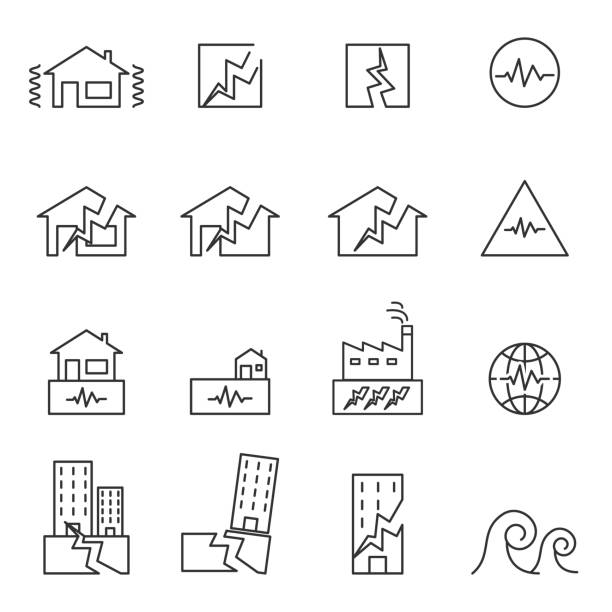 Earthquake Icon . line symbol vector illustration Earthquake Icon . line symbol vector illustration earthquake stock illustrations