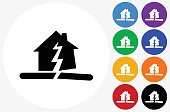 Earthquake Icon on Flat Color Circle Buttons. This 100% royalty free vector illustration features the main icon pictured in black inside a white circle. The alternative color options in blue, green, yellow, red, purple, indigo, orange and black are on the right of the icon and are arranged in two vertical columns.