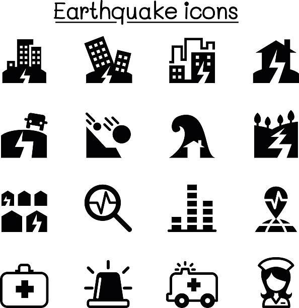 Earthquake icon set Earthquake icon set earthquake stock illustrations