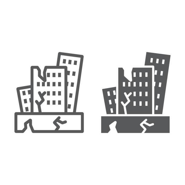 지진 선 과 문양 아이콘, 재해 및 손상, 집 충돌 기호, 벡터 그래픽, 흰색 배경에 선형 패턴. - 무너짐 stock illustrations