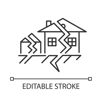 Earthquake linear icon. Seismic activity. Temblor buildings destruction. Cracked ground and houses. Thin line illustration. Contour symbol. Vector isolated outline drawing. Editable stroke