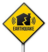Earthquake yellow warning and caution sign. EPS 10 file. Transparency effects used on highlight elements.