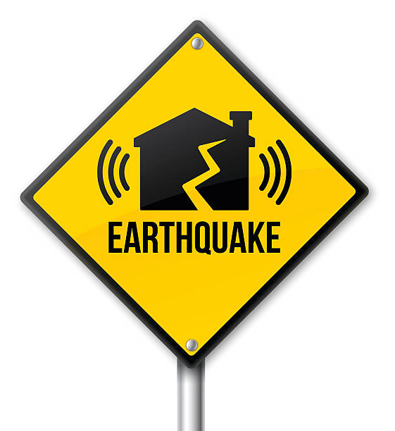 Earthquake Sign Earthquake yellow warning and caution sign. EPS 10 file. Transparency effects used on highlight elements. earthquake stock illustrations