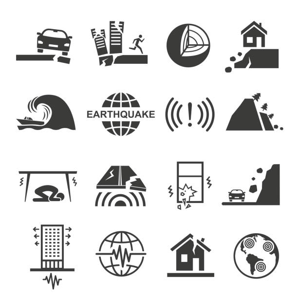 Earthquake tsunami disaster and destruction black icon set Earthquake tsunami disaster and destruction black icon set. Quake, tremor or temblor, shaking of the surface of the Earth. Vector line art illustration on white background earthquake stock illustrations