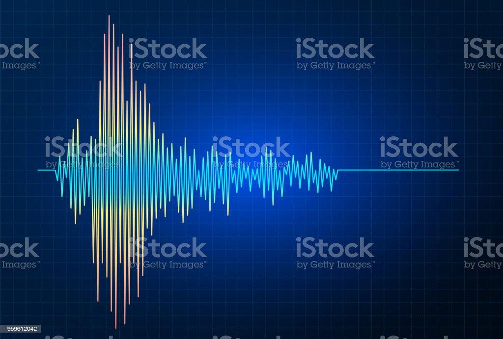 Gráfico de onda de frecuencia de terremoto vector, actividad sísmica - arte vectorial de Abstracto libre de derechos