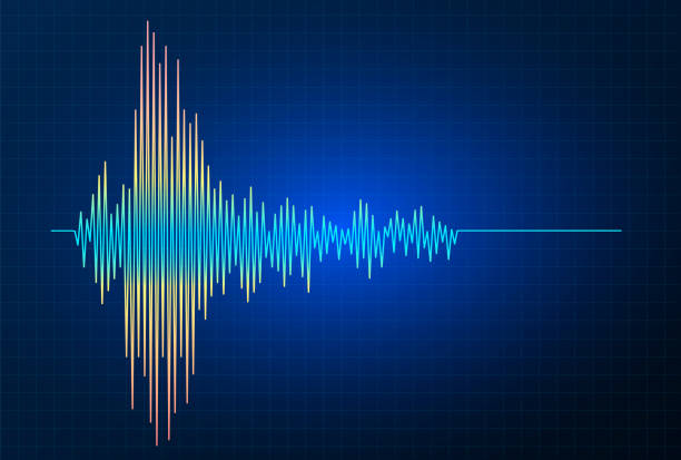 Earthquake vector frequency wave graph, seismic activity Earthquake frequency wave graph, seismic activity. Vector abstract scientific background. Diagram seismograph, vibration amplitude illustration, can be used for business, science  presentation earthquake stock illustrations