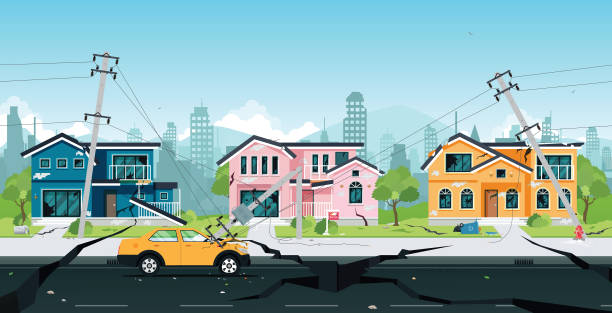 earthquake Earthquake damage to houses and electric poles collided with cars. earthquake stock illustrations
