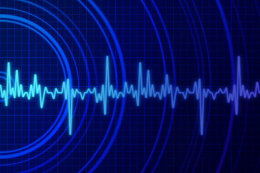 Earthquake shaking vibration abstract blue background.