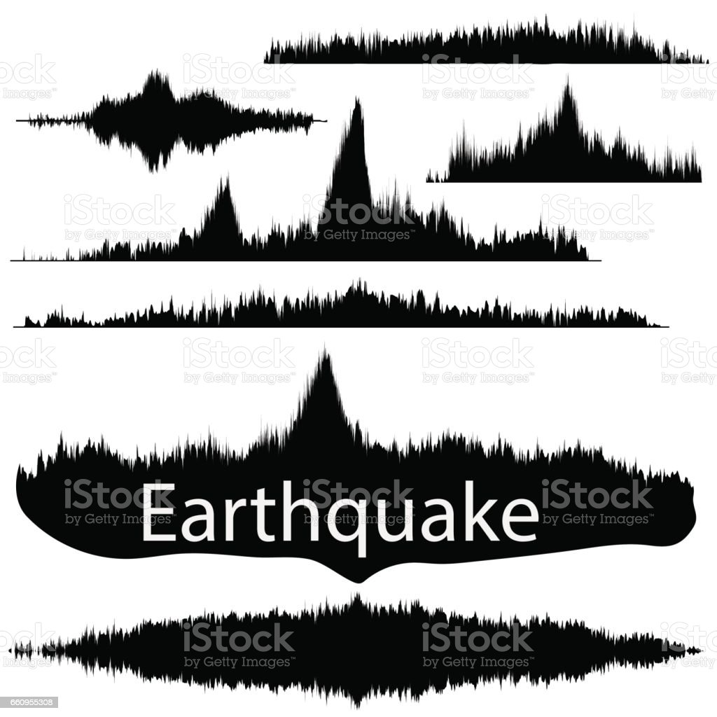 Earthquake Wave on Paper Fixing. Audio Wave Set vector art illustration