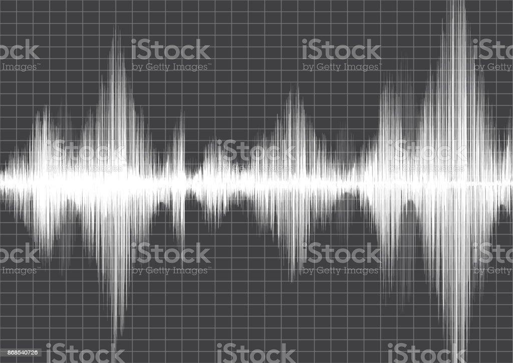 Erdbebenwelle Mit Liniendiagramm Auf Graues Papierhintergrund Audio ...