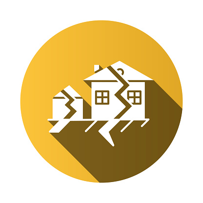 Earthquake yellow flat design long shadow glyph icon. Seismic activity. Temblor buildings destruction. Cracked ground and houses. Natural disaster. Vector silhouette illustration