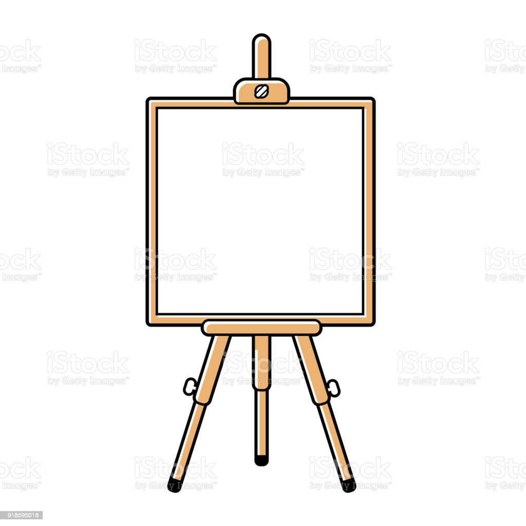 easel or presentation stand with a white board stock vector art