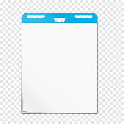 Easel pad on transparent background, vector mockup. Flipchart sticky blank white paper block, realistic mock-up
