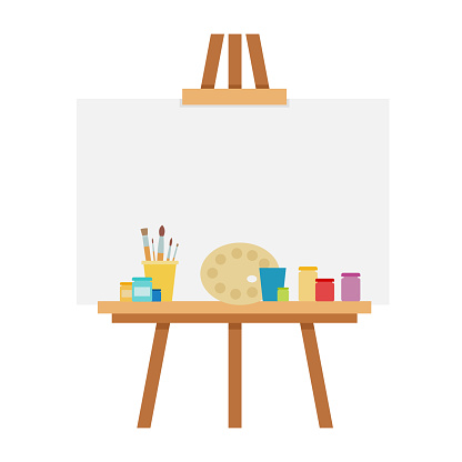 Easel with accessories for drawing vector flat isolated