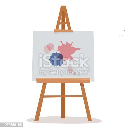 Easel with white canvas. Flat cartoon style vector illustration.