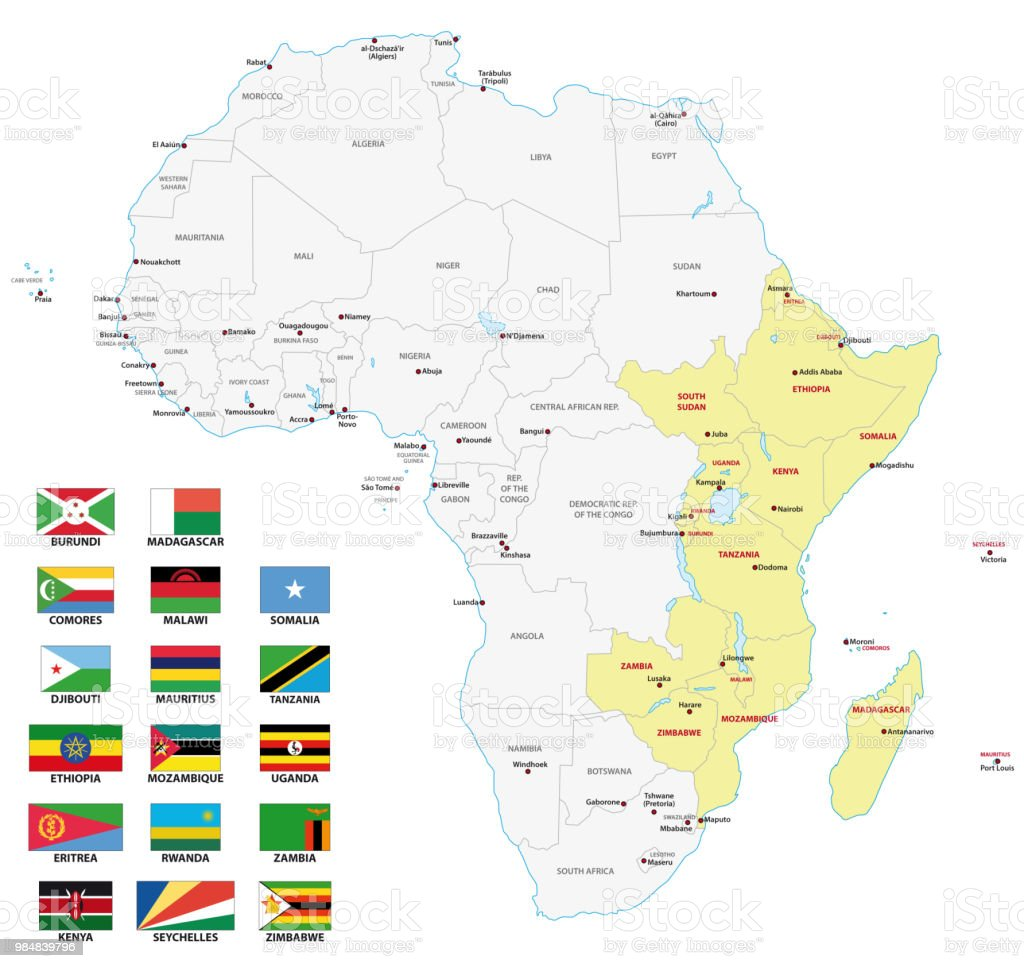 east africa map with flags vector art illustration