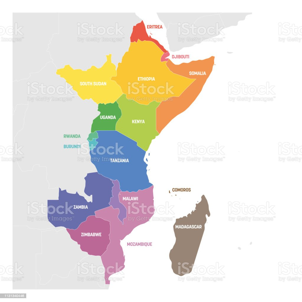 Map Of East Africa Showing Countries.East Africa Region Colorful Map Of Countries In Eastern