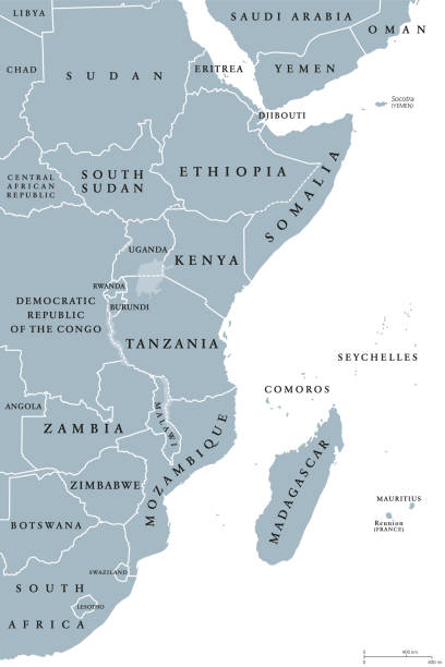 East Africa region political map vector art illustration