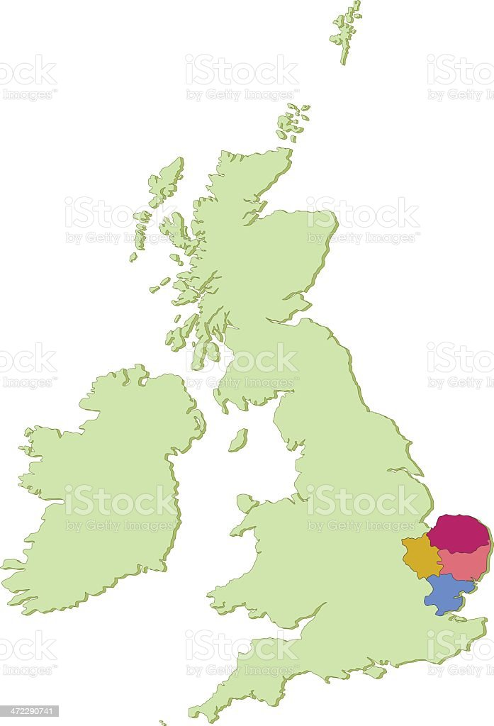 UK East Anglia counties map vector art illustration