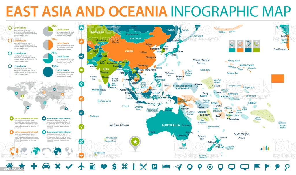 East asia and oceania map info graphic vector illustration stock east asia and oceania map info graphic vector illustration royalty free stock vector art gumiabroncs Images
