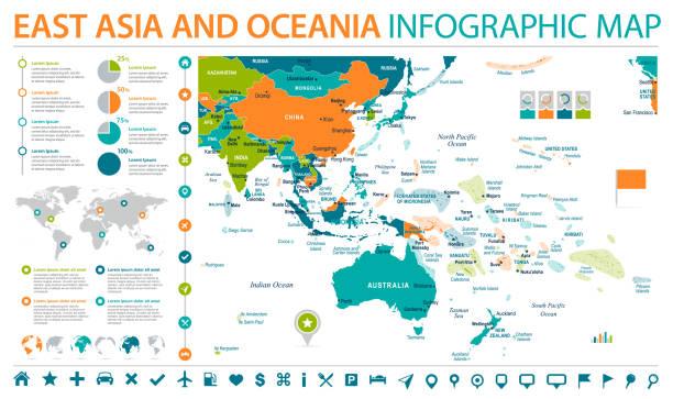 東アジアとオセアニア地図 - 情報グラフィック ベクトル図 - アジア地図点のイラスト素材/クリップアート素材/マンガ素材/アイコン素材